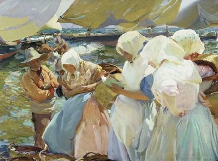 Valencianas en la Playa (Women from Valencia on the beach), 1915 by Joaquin Sorolla y Bastida art print