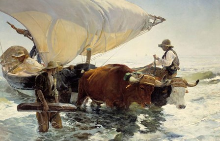 Returning from Fishing - Hauling of the Boat by Joaquin Sorolla y Bastida art print