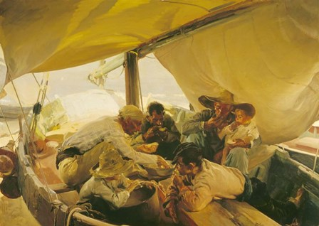 Eating in the Boat by Joaquin Sorolla y Bastida art print