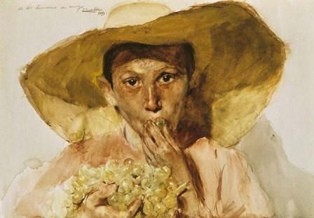 Boy with Grapes by Joaquin Sorolla y Bastida art print