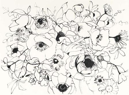 Black Line Poppies Mix by Shirley Novak art print