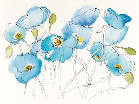 Black Line Poppies III Watercolor by Shirley Novak art print