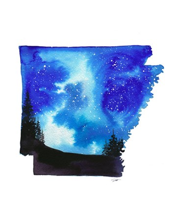Arkansas State Watercolor by Jessica Durrant art print