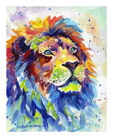 Colorful African Lion by Sarah Stribbling art print