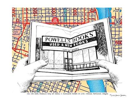 Powell's Books Portland by Lyn Nance Sasser and Stephen Sasser art print