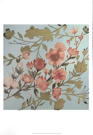 Golden Cherry Blossoms I - Metallic Foil by Grace Popp art print