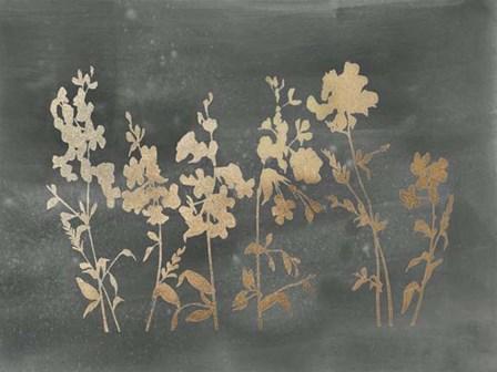 Gold Foil Flower Field on Black - Metallic Foil by Vision Studio art print