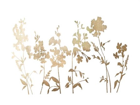 Gold Foil Flower Field - Metallic Foil by Vision Studio art print