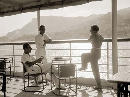 Jeunes Gens sur le Pont d' un Bateau dans la Baie de Monte Carlo, 1920 by Charles Delius art print
