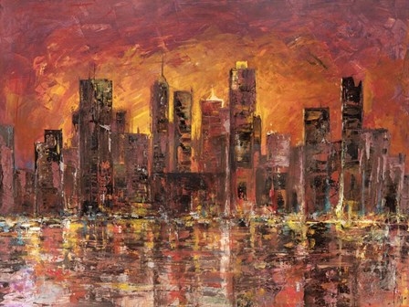 Sunset in New York by Luigi Florio art print