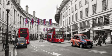 Buses and taxis in Oxford Street, London by Pangea Images art print