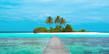 Jetty and Maldivian island by Pangea Images art print