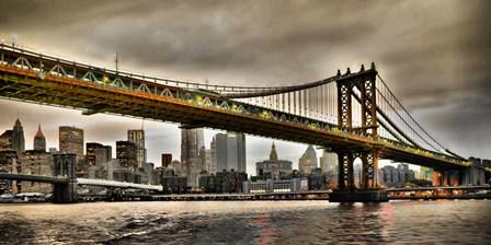 Manhattan Bridge and New York City Skyline, NYC by Vadim Ratsenskiy art print