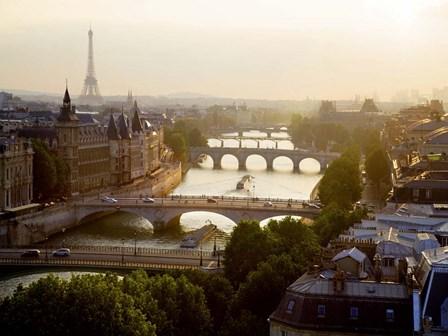 Bridges over the Seine River, Paris Sepia 2 by Michael Setboun art print