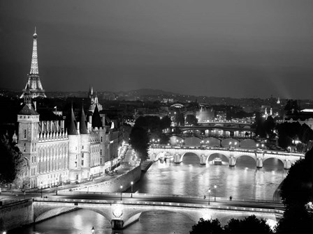 Paris and Seine River at Night by Michael Setboun art print