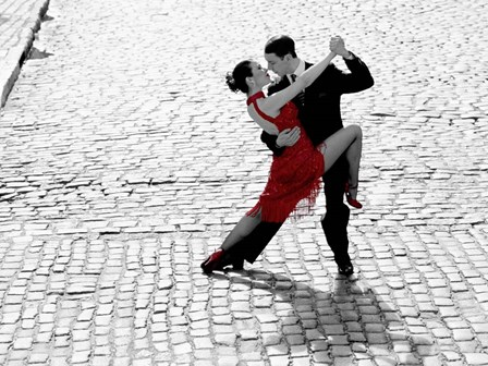 Couple Dancing Tango on Cobblestone Road art print