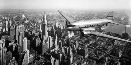 DC-4 over Manhattan, NYC art print