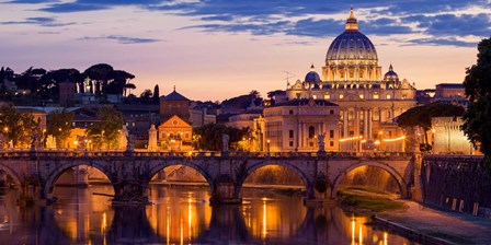 Night View at St. Peter's cathedral, Rome art print