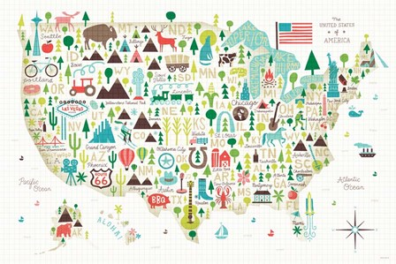 Illustrated USA by Michael Mullan art print