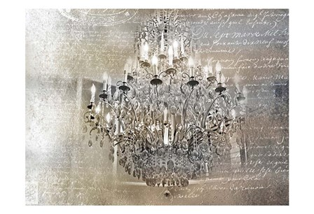 Silver Gold Chandelier by Tracey Telik art print