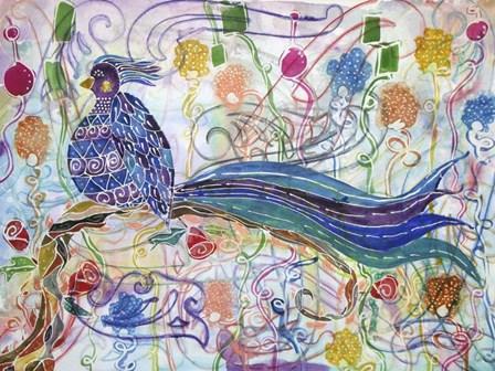 Bird in the Roses by Lauren Moss art print