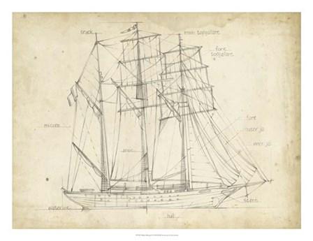 Sailboat Blueprint I by Ethan Harper art print