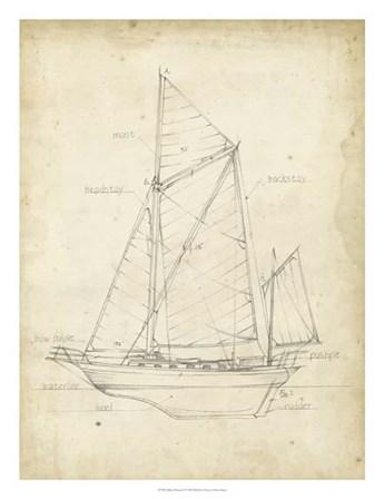 Sailboat Blueprint V by Ethan Harper art print