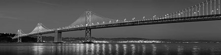 Bay Bridge at dusk, San Francisco, California BW by Panoramic Images art print