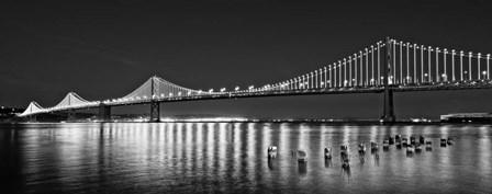 Bay Bridge lit up at night, San Francisco, California by Panoramic Images art print