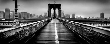 Fog over the Brooklyn Bridge, Brooklyn, Manhattan, NY by Panoramic Images art print