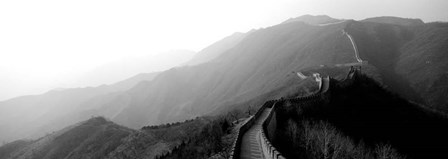 High angle view of the Great Wall Of China, Mutianyu, China BW by Panoramic Images art print