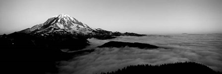 Sea of clouds with mountains in the background, Mt Rainier, Washington State by Panoramic Images art print