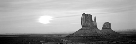 East Mitten and West Mitten buttes at sunset, Monument Valley, Utah BW by Panoramic Images art print