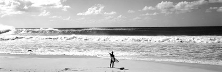 Surfer standing on the beach, North Shore, Oahu, Hawaii BW by Panoramic Images art print