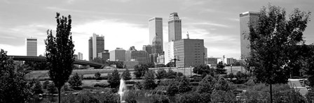 Downtown skyline from Centennial Park, Tulsa, Oklahoma by Panoramic Images art print