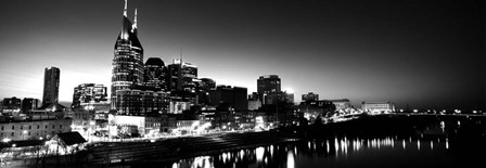 Skylines at night along Cumberland River, Nashville, Tennessee by Panoramic Images art print