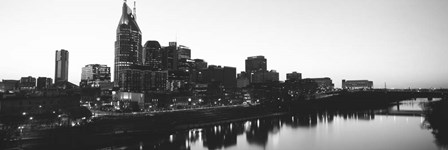 Skylines at dusk along Cumberland River, Nashville, Tennessee by Panoramic Images art print