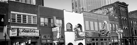 Neon signs on buildings, Nashville, Tennessee BW by Panoramic Images art print