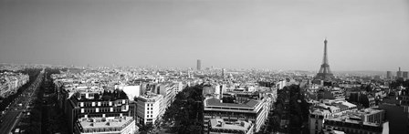High angle view of a cityscape, Paris, France BW by Panoramic Images art print