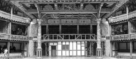 Interiors of a stage theater, Globe Theatre, London, England BW by Panoramic Images art print