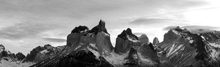Snowcapped mountain range, Paine Massif, Torres del Paine National Park, Patagonia, Chile by Panoramic Images art print