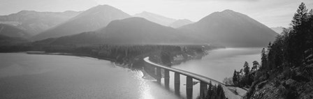 Bridge Over Sylvenstein Lake, Bavaria, Germany BW by Panoramic Images art print