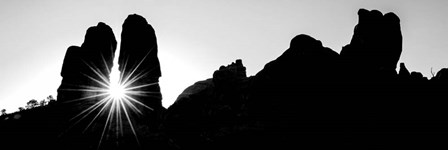 Silhouette of cliffs at Arches National Park, Grand County, Utah by Panoramic Images art print