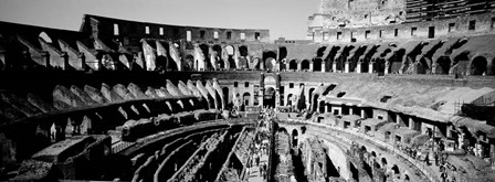 High angle view of tourists in an amphitheater, Colosseum, Rome, Italy BW by Panoramic Images art print
