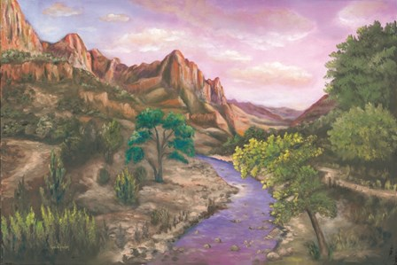 Zion at Sunset by Eve Wheeler art print