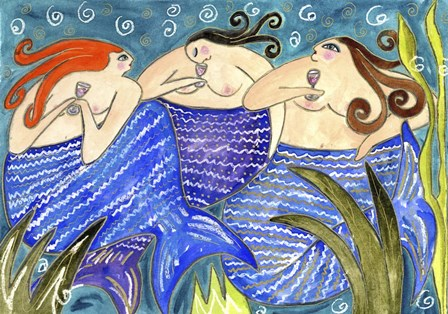 Big Diva Mermaid Wine Club by Wyanne art print