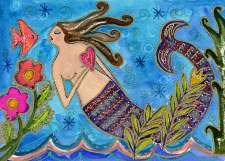Big Diva Mermaid With Heart by Wyanne art print