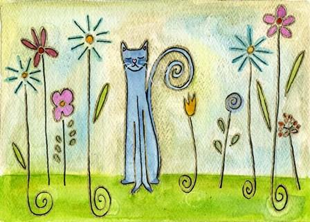 Blue Cat In The Flower Garden by Wyanne art print