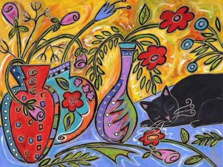 Flower Shop Catnap by Wyanne art print