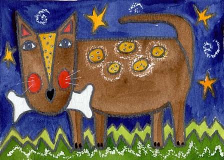 Funky Dog With Bone by Wyanne art print